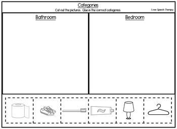 FREEBIE - Category Worksheet - NO PREP Cut and Paste