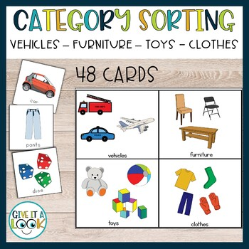 Category sorting (vehicles, furnitures, toys, clothes)