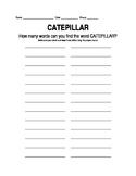 Catepillar Word Work - Editable