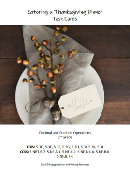 Catering a Thanksgiving Dinner Task Cards