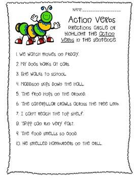 Caterpillar Action Verb Activity
