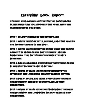 Caterpillar Book Report / Reading Response