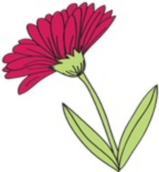 Caterpillar, Butterflies and Flowers Clip Art Set