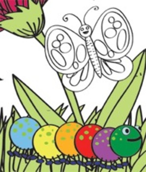 Caterpillar, Butterflies and Flowers Clip Art Set