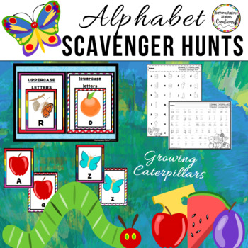 Caterpillar Butterfly Alphabet Scavenger Hunt: Upper and Lowercase Letters