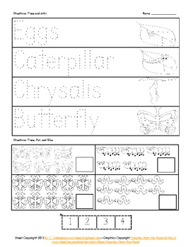 Caterpillar Butterfly Life Cycle Activities, Games, Pocket Chart, Math, Read