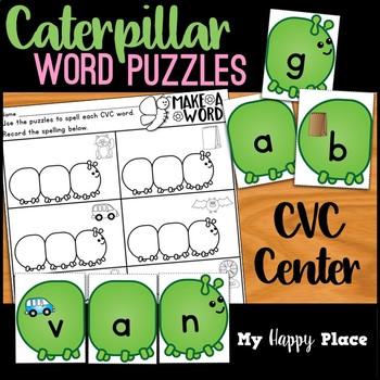Caterpillar CVC Word Puzzles Spring Center
