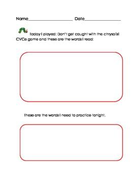 Caterpillar CVCe Literacy Game