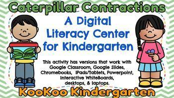 Caterpillar Contractions-A Digital Literacy Center (Compatible with