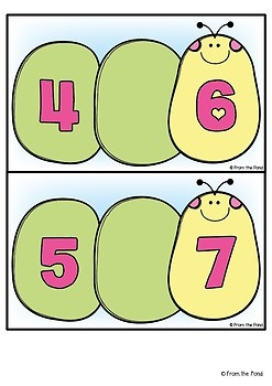 Math Center Activity for Counting : Caterpillar Count