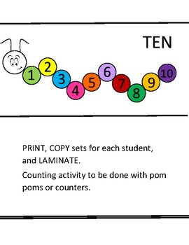 Caterpillar Counting Task Cards (Numbers 1-10)