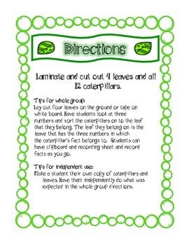 Caterpillar Fact Family Sort