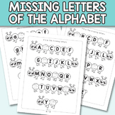 Caterpillar Fill in the Missing Letters of the Alphabet Worksheets