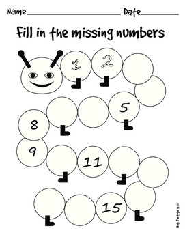 Caterpillar Fill in the Missing Numbers