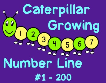 Caterpillar Growing Number Line #1 - 200 Custom Colors Available