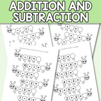 caterpillar kindergarten addition and subtraction worksheets up to   originaljpg