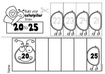Caterpillar Number Worksheets