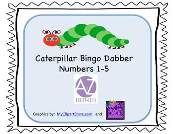 Caterpillar Numbers 1-5  with Bingo Dabbers