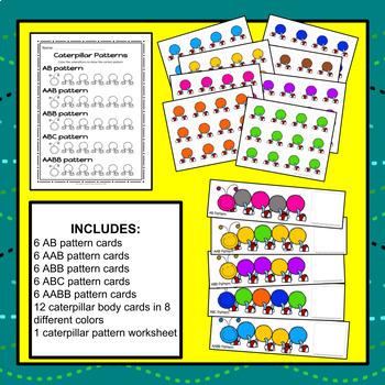 Caterpillar Pattern Cards & Worksheet - S