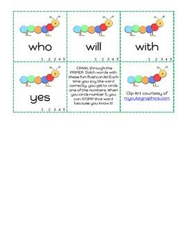 Caterpillar Primer DOLCH Word Flashcards