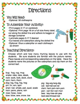 Rhyme - Caterpillar Rhyme Activity