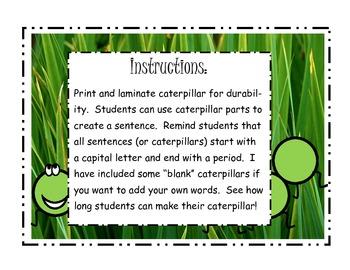 Caterpillar Sentence Creator
