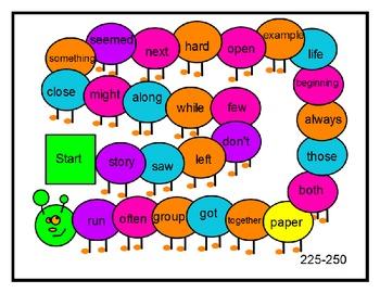 Caterpillar Sight Word Game 200-300