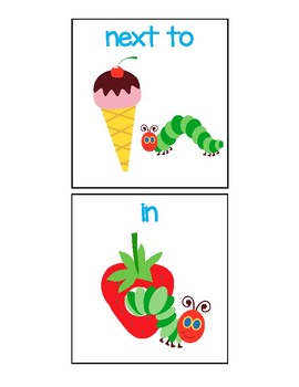 Caterpillar Spatial Concept Flashcards - lowercase letters