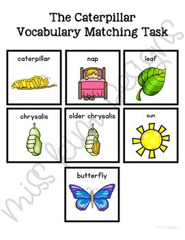 Caterpillar Vocabulary Folder Game for Special Education
