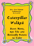 Caterpillar Walked Sheet Music, mp4 File, and Butterfly Picture to Color