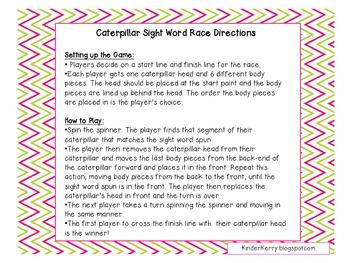 Caterpillar Word Race
