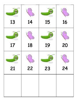 Caterpillar and Butterflies 1-100 Number Cards
