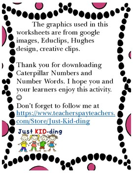 Caterpillar number and number words 1-20 BLACK AND WHITE