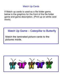 Caterpillar to Butterfly File Folder Games