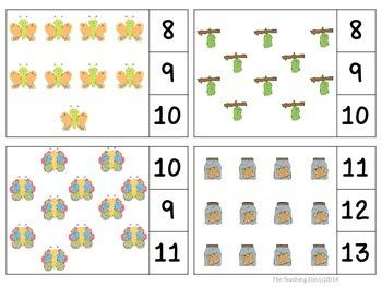 Caterpillars & Butterflies Count & Clip 1 - 30 Task Cards