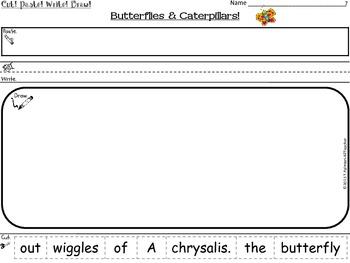 Butterflies & Caterpillars ~ Cut, Paste, Write, Draw! Scrambled Sentences