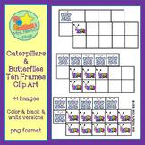 Ten Frames Clip Art - Caterpillars and Butterflies