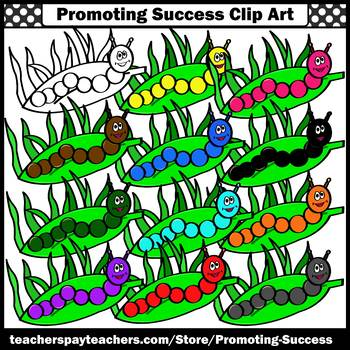 Caterpillars Clip Art, Insect Clipart for Spring or Summer Commercial Use SPS