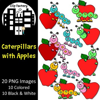 Caterpillars with Apples Clip Art
