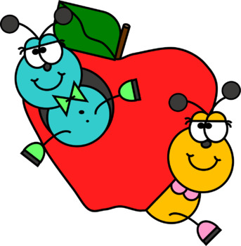 Caterpillars with an Apple Clip Art FREEBIE