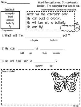 Caterpillar/Butterfly Emergent Reader & Activities