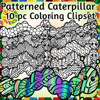 Caterpillar Coloring Clip Art Set Commercial and Personal Use