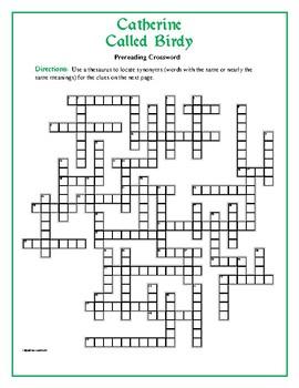 Catherine Called Birdy: 50-word Prereading Crossword—Great Preparation!