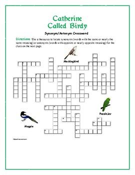 Catherine Called Birdy: Synonym/Antonym Crossword--Use wit