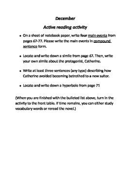 Catherine Called Birdy by Karen Cushmen activie reading strategy