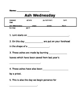 Catholic Ash Wednesday fill in the blank