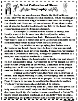 Catholic Biography Language Arts Activities - Saint Catherine of Siena