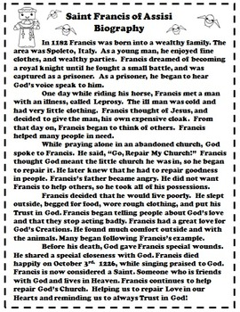Catholic Biography Language Arts Activities - Saint Francis of Assisi