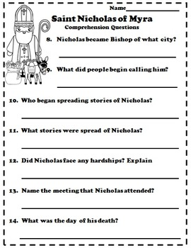 Catholic Biography Language Arts Activities - Saint Nicholas of Myra