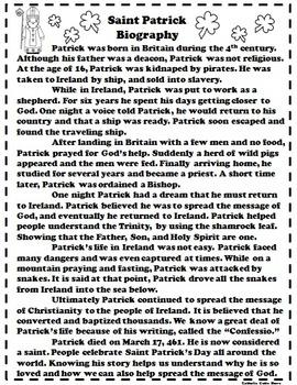 Catholic Biography Language Arts Activities - Saint Patrick